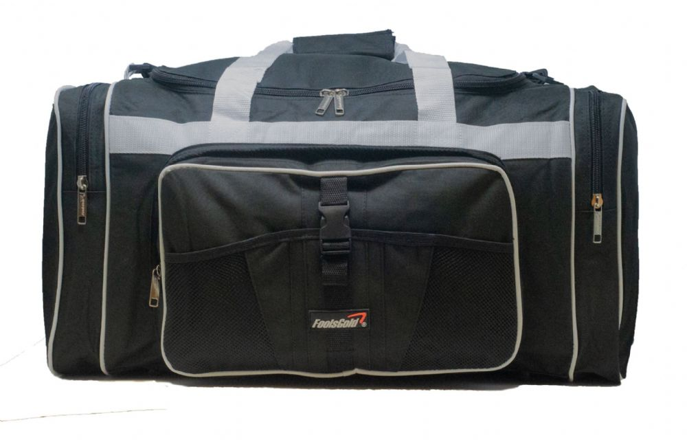 Large 50L foolsGold® Sports Holdall Bag - Black/Grey